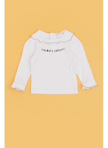 BG Baby Kız Bebek Ekru T-Shirt Ekru